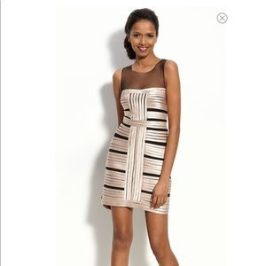 BCBGMaxAzria Illusion Bodice Satin Stripe Dress